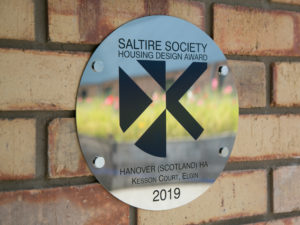Saltire Society Award plaque at Kesson Court