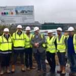 Stonecross site visit. Councillor Leadbitter with Hanover and Springfield staff
